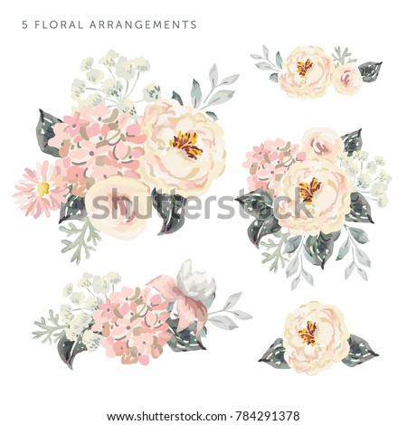 Stock Photo Set of the floral arrangements. Pale pink peonies and hydrangea with gray leaves. Watercolor vector romantic garden flowers.