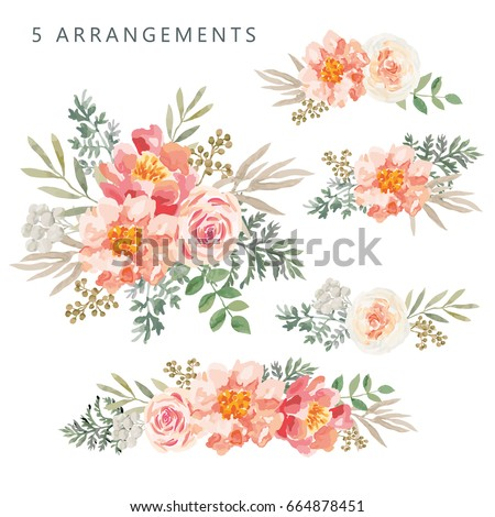 set of the floral arrangements
