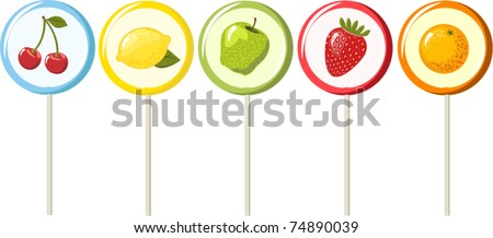 Set of the fruity lollipops