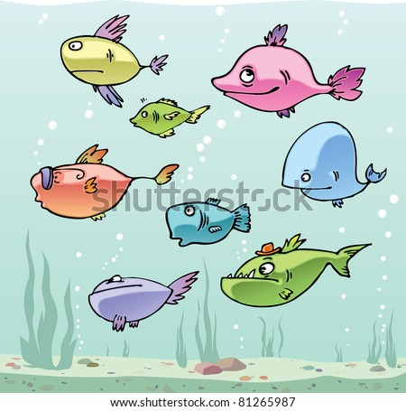 Set of the funny cartoon fishes in their habitat.