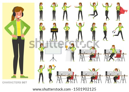 Set of The gamer woman character vector design. Presentation in various action with emotions, running, standing and walking.