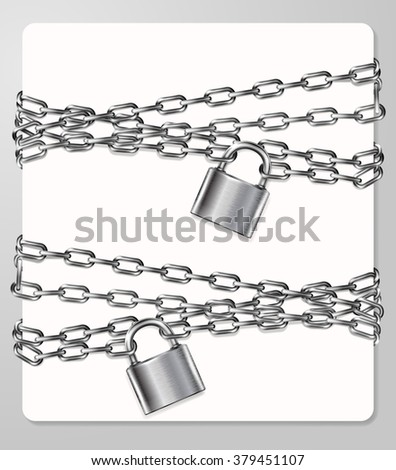 Set of the gray metal chain and padlock, handcuffed card, vector illustration stock photo