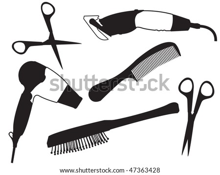 Set of the hairdresser - a hair drier, scissors, a hairbrush in a vector - stock vector
