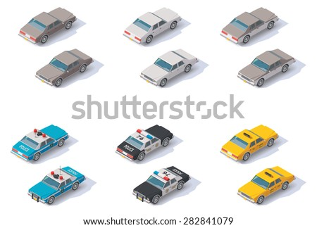 set of the isometric cars with