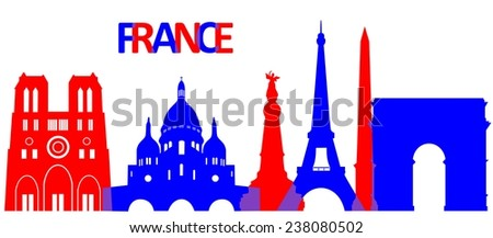 Set of the main attractions and architecture of France.