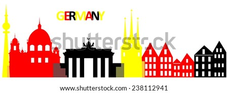 Set of the main attractions and architecture of Germany.