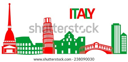 Set of the main attractions and architecture of Italy.