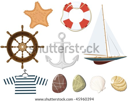 Set of the marine objects. Vector