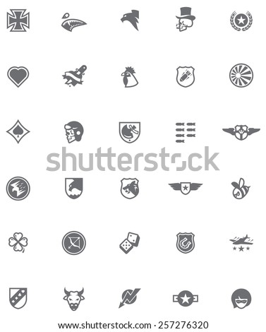 set of the military emblems in