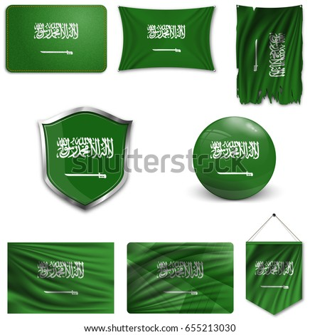 Set of the national flag of Saudi Arabia in different designs on a white background. Realistic vector illustration.