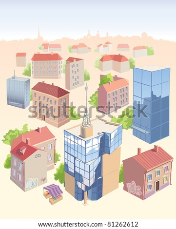 Set of the old and new city buildings. It's all isolated and located on the different layers. Editable vector EPS v9.0