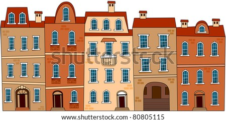 Set of the old European city abstract buildings. Series of the cartoon buildings.