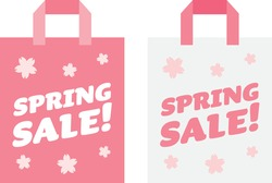 Set of the pink and white paper bags of the spring sale