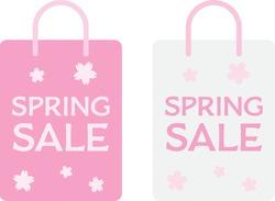Set of the pink paper bag of spring sale