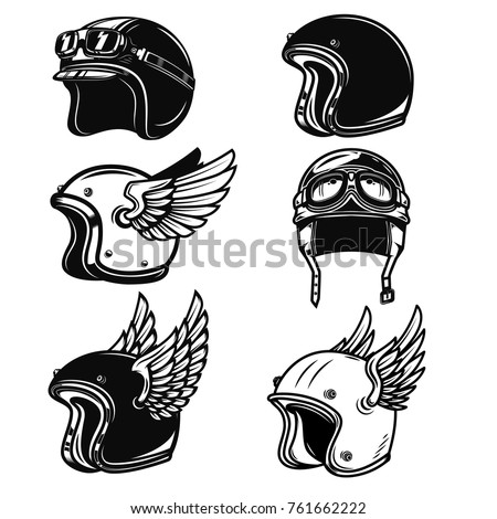 Set of the racer helmets. Design elements for logo, label, emblem, sign, badge. Vector illustration