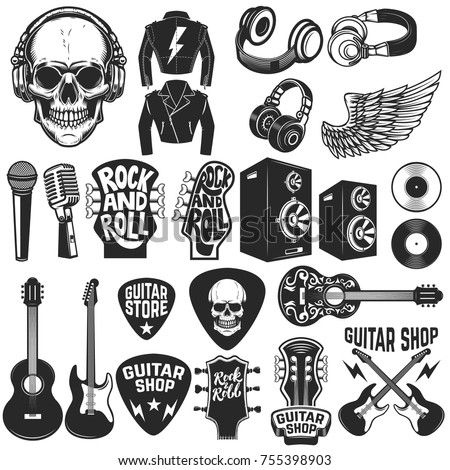Set of the rock music design elements. Guitar shop. Design elements for logo, label, emblem, sign, poster. Vector illustration