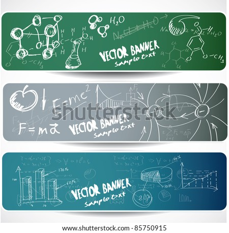 Set of the  scientific symbols drawn by a chalk on a blackboard. - stock vector