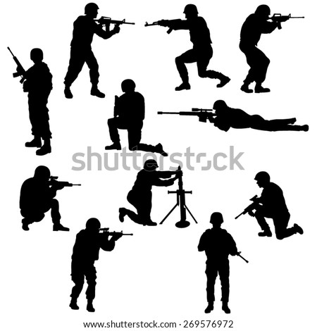 set of the soldiers silhouettes
