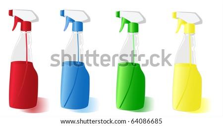 Set of the spray bottles 4 colours on white background