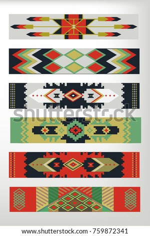 Set of the tribal carpets pattern. Stock vector.