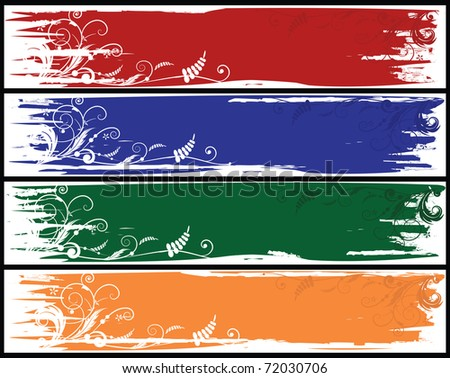set of the varicolored vector banners with  flowers - stock vector