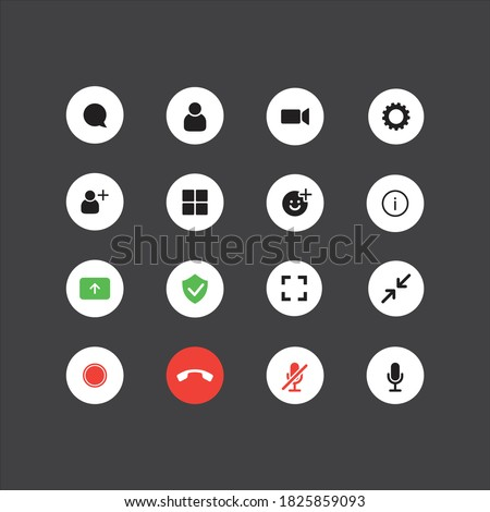 Set of the video chat user interface icons