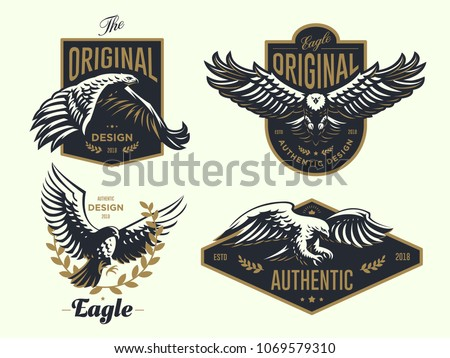 Set of the vintage logo with the eagle