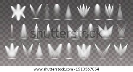 Set of the white spotlight shines on the stage, scene, podium. Exclusive use lens flash light effect from a lamp or spotlight.  Vector