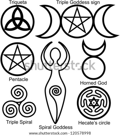 Stock Vector Set Of The Wiccan Symbols Triquetra Or Celtic Knot Symbol Of Triple Goddess Pentacle Spiral on symbols of witchcraft