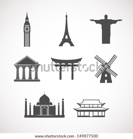 set of the world landmark icons