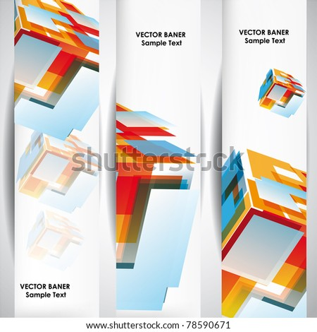 Set of the 160x600 abstract cube banners.