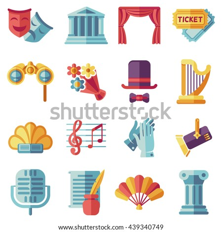 Set of theatre acting performance flat icons, drama, comedy, curtain and mask, tragedy. Vector illustration