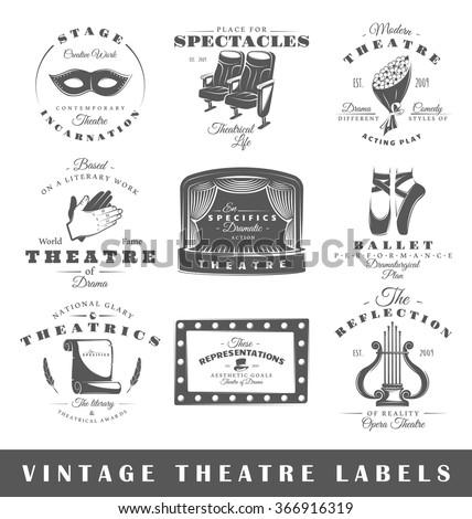 set of theatre labels. elements ...