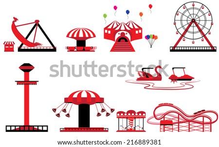 Set of Theme park and Amusement Foto d'archivio ©
