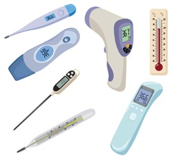 Set of thermometers. Collection of devices for measuring temperature. Medical device. Colored  vector illustration for a hospital.