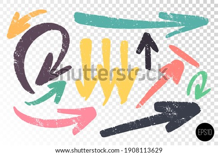 Set of thick arrows various shapes and coors. Hand drawn artistic notes. Hand drawn design elements. Vector freehand details for design. Сток-фото ©