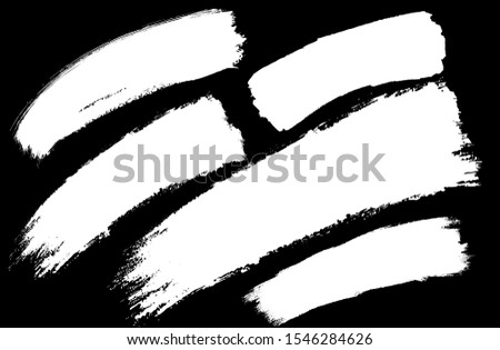 Set of thick brushstrokes. Irregular drawing strokes. Vector brush stroke background. Dynamic stroke. Texture and grunge style. Stain illustration.