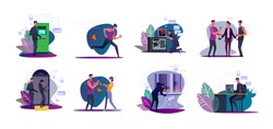 Set of thieves stealing bags and burglars breaking into houses. Hackers men hacking computer, ATM, safe. Robber criminals threating people victims with knife. Crime, theft flat vector illustration