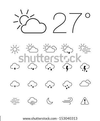Set of 20 thin and clean outline weather icons for web or mobile use on white background