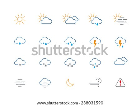 Set of 20 thin and clean outline weather icons for web or mobile use on white background.