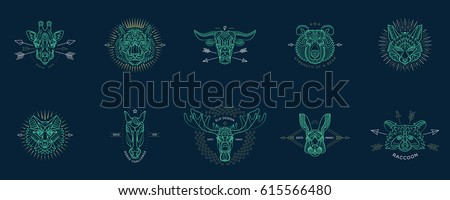 Set of thin line animal icons. Abstract graphic design logo, patch, badge, label, sticker. Vector stock illustration.