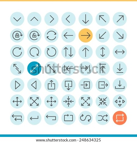 set of thin line arrow icons, vector illustration