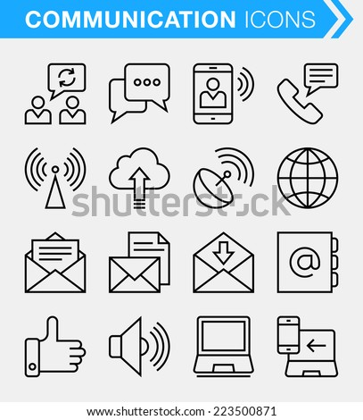 Set of thin line communication icons.