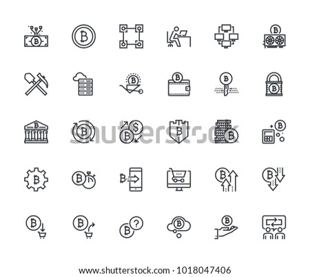 Set of thin line cryptocurrency icons. Premium quality outline symbol collection of blockchain technology, bitcoin, altcoins, mining, finance, digital money market, cryptocoin wallet, stock exchange.