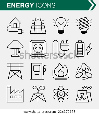 set of thin line energy icons
