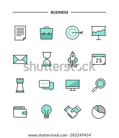 set of thin line flat business