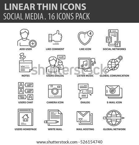 Set of thin line flat icons. Elements and pictograms for infographic, user interface, presentation and other design materials. Good quality collection social media concept.