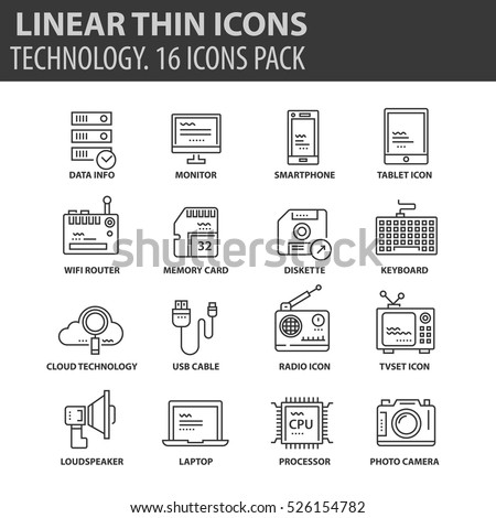 set of thin line flat icons