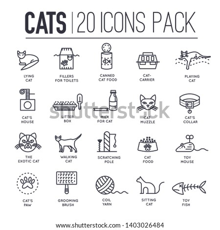 Set of thin line icons about playing, feeding of cats isolated on white. Domestic animals care outline pictograms collection. Kittens toys and food logos. Pets vector elements for infographic, web.