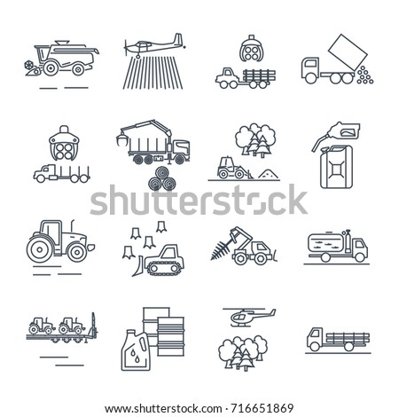 set of thin line icons agricultural machinery, equipment, farming, tractor, combine